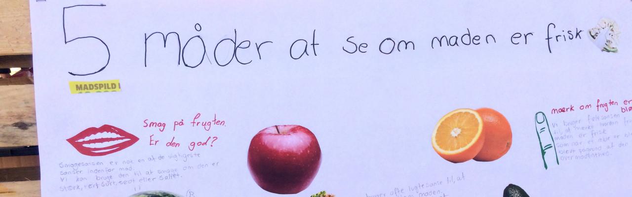 Udsnit af plakat lavet af elever i et tidligere undervisningsforløb om at undgå madspild. Foto: Cathrine Terkelsen