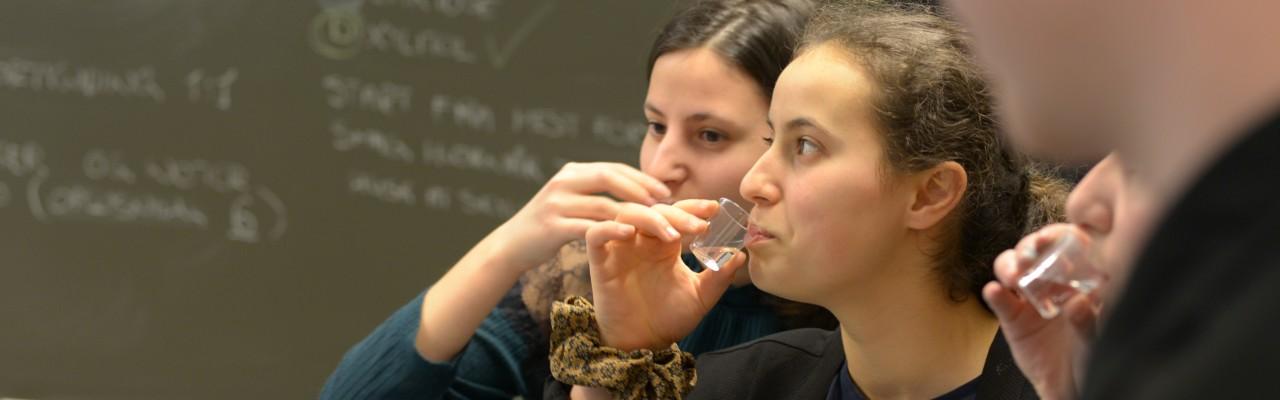 Man må smage sig frem til den rette sødme. Her er eleverne i gang med at undersøge grænsen for, hvornår de kan smage sukker. Foto: Mathias Porsmose Clausen.