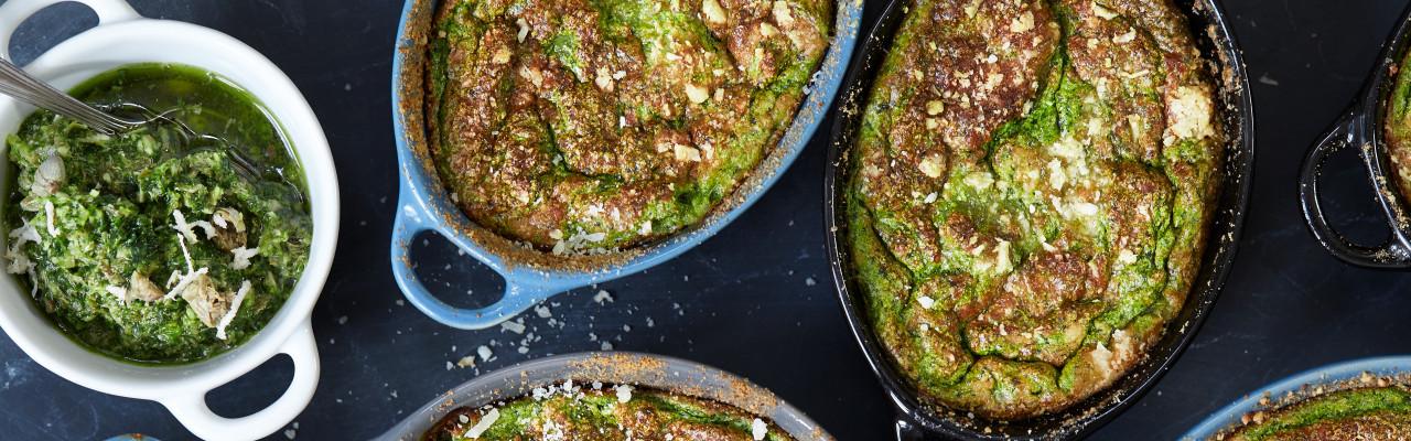Recycle spinatgratin kan laves både som portioner og som en større gratin. Foto: Jonas Drotner Mouritsen