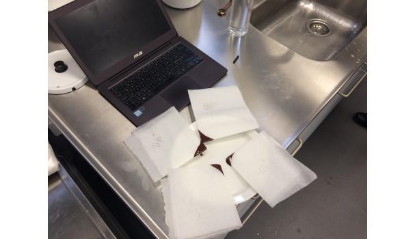 Små prøver af chokolade ved forskellige temperaturer. Foto: Eva Rymann